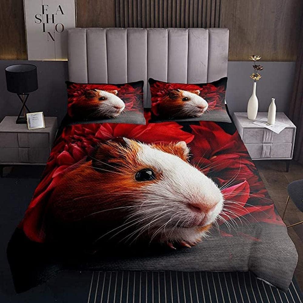 HSBZLH 3Pcs Be super Max 67% OFF welcome Guinea Pig Bedspread Lovely Red Set Flo Cavy Bedding