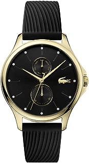 Lacoste Women's Kea Quartz Yellow Gold IP and Rubber Strap Casual Watch, Black, 2001052