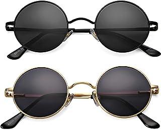 2 Pack Trendy Small Round Polarized Sunglasses for Women Men, Retro John Lennon Hippie Style Shades Glasses