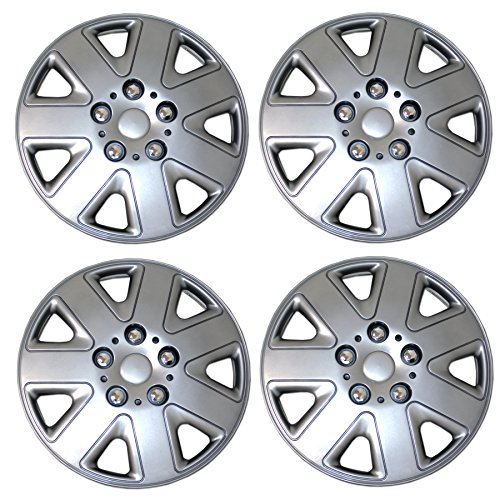 Tuningpros WC3-15-1026-S - Pack of 4 Hubcaps - 15-Inches Style Snap-On (Pop-On) Type Metallic Silver Wheel Covers Hub-caps