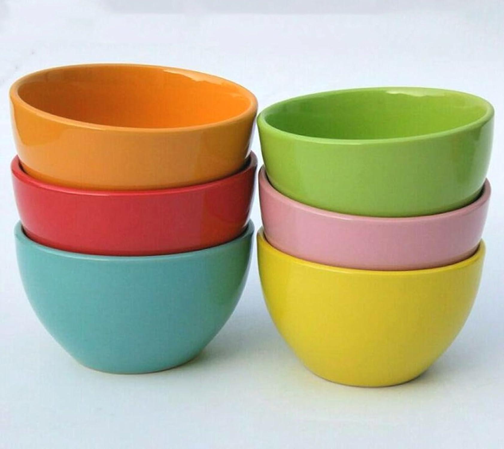 Taoshengbujue Bol en céramique Home Couleur Petit Bol à Riz Bol de 4,5 Pouces Paquet de 6 Petit Bol à Soupe Petit Bol à Bouillie (Couleur   A)