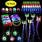 Cocostar 70PCs Light Up Toys Glow in Party, The Dark Party Supplies, Glow Stick Party Pack for Kids Party Favors Including 40 Finger Lights, 10 Flashing Bumpy Rings, 5 Flashing Glasses,5 butterfly Fiber Optic Hair Lights,5 Bracelets, 5 glowing windmill necklace