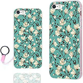 iPhone 5s Case,iPhone 5 case,iPhone SE case,ChiChiC 360 Full Protective shockproof Stylish Slim Flexible Durable Soft TPU Elegant Artist Graphic Design Cover Cases for iPhone 5 5g 5s SE,white flower blossom magnolia almond on green emerald floral