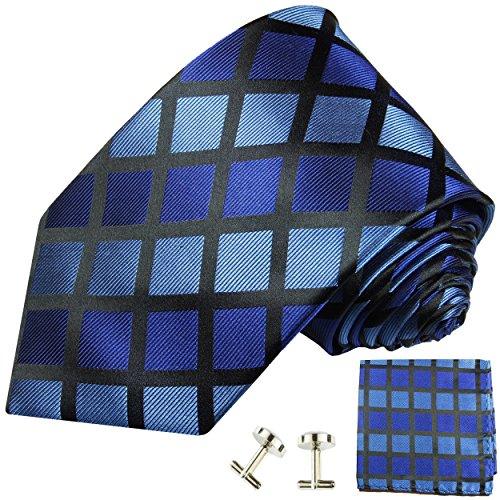 Cravate à carreaux bleu ensemble de cravate 3 Pièces (100% Soie Cravate + Mouchoir + Boutons de manchette)