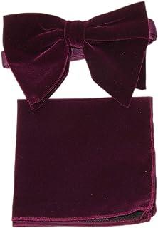 男式超大深紫色天鹅绒预扎蝴蝶结和方形口袋