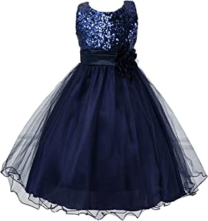 HOTWON Girl Kid Princess Wedding Bridesmaid Party Formal Sequin Ball Gown Dress
