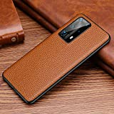 for Huawei P40 and P40 Pro Leather Case Lichee Pattern Texture 5G Cellphone Protector Anti-Scratch Anti-dust (Brown,Huawei P40 Pro)