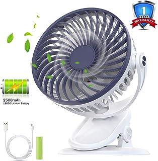 HQKJ Ventilador de Mesa Ventilador USB Silencioso Ventilador Recargable Clip de Ventilador para Oficina, Carrito de Bebé Cuna, 5 Pulgadas, 3 Velocidades, Batería de Litio de 2500 mAh Incluida