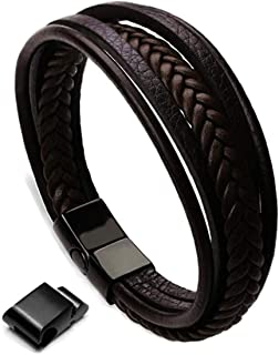 Artworkwe Men's Braided Leather Multilayer Bracelet Magnetic-Clasp Fashion Wrist Cuff Bangle Brown