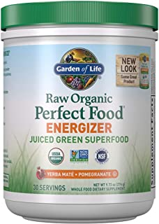 Garden of Life Raw Organic Perfect Food Energizer Juiced Green Superfood Powder - Yerba Mate Pomegranate, 30 Servings, Gre...
