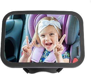 CANOPUS Rücksitzspiegel für babys, Baby Rücksitzspiegel, Baby Rückspiegel, weite kristallklare Sicht, Autositz Spiegel, bruchsicheres Glas und komplett montiert, ideal für Babyschalen