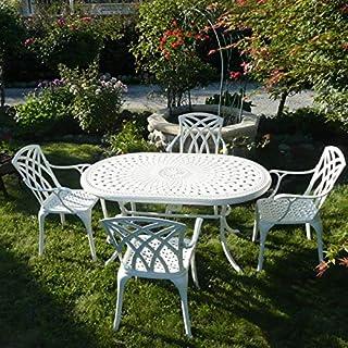 Lazy Susan - June 150 x 95 cm Ovaler Gartentisch mit 4 Stühlen - Gartenmöbel Set aus Metall, Weiß (April Stühle, Terracotta Kissen)