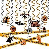"""Una varietà di decorazioni di Halloween; Include: gatto, pipistrello, cappello, mostro di zucca, streghe, ragni, teschio. Croce, pendente di 12 colori e stili diversi e 1 """""""""""""""" banner di avvertimento Sospensione facile '' Ogni parte girevole è fornita..."""