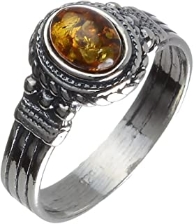 Sterling Silver and Baltic Honey Amber Gothic Style Ring