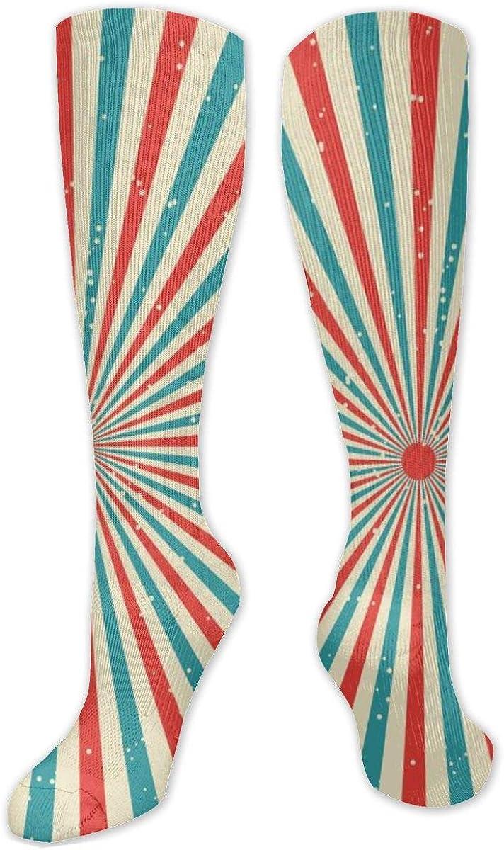 Stripe Art Knee High Socks Leg Warmer Dresses Long Boot Stockings For Womens Cosplay Daily Wear