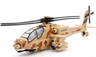 HAPTIME 11.2 inch Pull Back Military Helicopter Toy with Lights and Sounds Army Plane for Kids Children Boys Girls (Yellow)