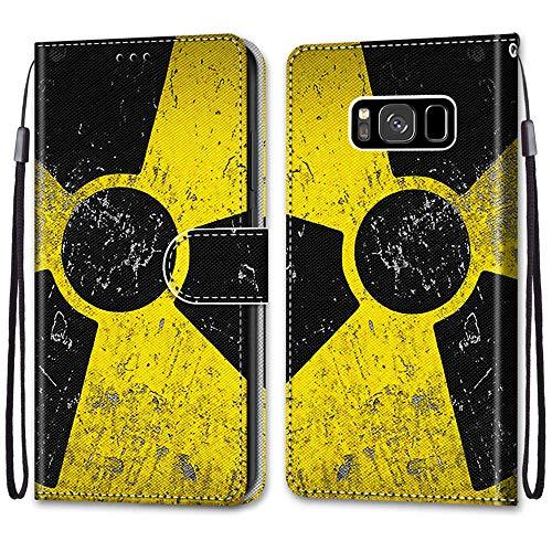 Nadoli Handyhülle Leder für Samsung Galaxy S8,Bunt Bemalt Schwarz Gelb Zeichen Trageschlaufe Kartenfach Magnet Ständer Schutzhülle Brieftasche Ledertasche Tasche Etui
