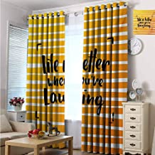 Quote Wear-Resistant Color Curtain Life is Better When You are Laughing Hand Drawn Calligraphy on Stripes 2 Panel Sets W84 x L96 Inch Orange Yellow and Black