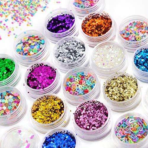Chunky Glitter Sequins, 24 Colors Set,Multi-Purpose Glitter Powder, Stars Shaped, Makeup Glitter, Holographic Chunky Glitter, for Art Nail Face Body Glitter Hair Eyeshadow Lip Gloss Making for Women