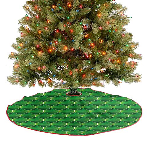 ThinkingPower Christmas Tree Skirt 3D Effect Square Blocks 2020 New Christmas Tree Skirt Decoration Cozy and Festive Without Being Cheesy Diameter - 48 Inch