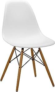 Set di 4 sedie con Sedile in Resina, Colore Bianco, 82 x 46 x 53.5 cm