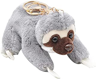 Anniston Plush Toy, Cute Sloth Plush Doll Stuffed Pendant Keychain Ring Key Holder Bag Ornament Ultra Soft Furry Stuffed Animal Plush Gifts for Kids Boys Girls Small Dogs