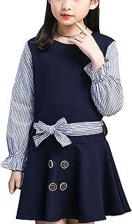 [美しいです]  子供服 ワンピース 長袖 ガールズ 蝶結び ストライプ ミックスカラー ボタン ベルト 夏 秋 春
