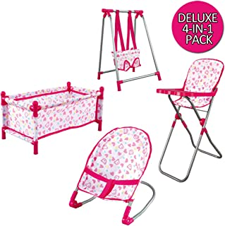deAO Childrens Deluxe 4 in 1 Baby Doll Pretend Role Play Set with Folding Cot Bed, Bouncer, Swing Seat and High Chair Accessories (Doll Not Included)