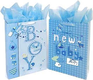 """کیسه های هدیه مخصوص دوش کودک با اندازه بزرگ 16.5 """"(عکس با طرح پاپ آپ براق) با کاغذهای دستمال / دستگیره ها و برچسب ها برای بسته کودک 2 بسته (آبی)"""