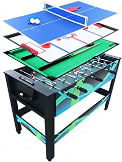 WFFF 4 in 1 Multi Combo Game Table, Foosball Table Machine Cue Snooker Billiards Ball Football Soccer Table tennis Ice Hockey