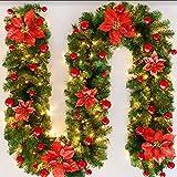 Guirnalda de Navidad Artificial 270cm LED Guirnalda de Navidad Decoración, Ratán de Navidad para Interior al Aire Libre Árbol de Navidad Escaleras Puerta Pared Chimenea Decoración de Fiesta (Rojo)