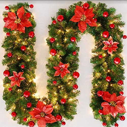 Bcamelys Weihnachtsgirlande mit Beleuchtung Weihnachtsdekoration 270cm Weihnachtsgirlande beleuchtet LED-Schnur beleuchtet Weihnachtstürdekor Weihnachtsgirlande Tannengirlande Lichterkette (rot)