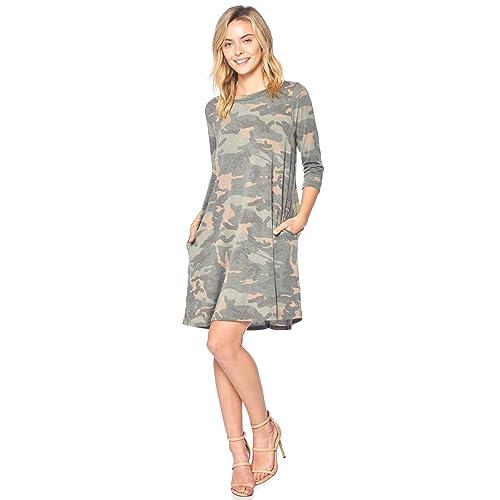 Modern Kiwi Now You See Me Camouflage 3 4 Long Sleeve Loose Fit Pocket Dress bf38c6ef8