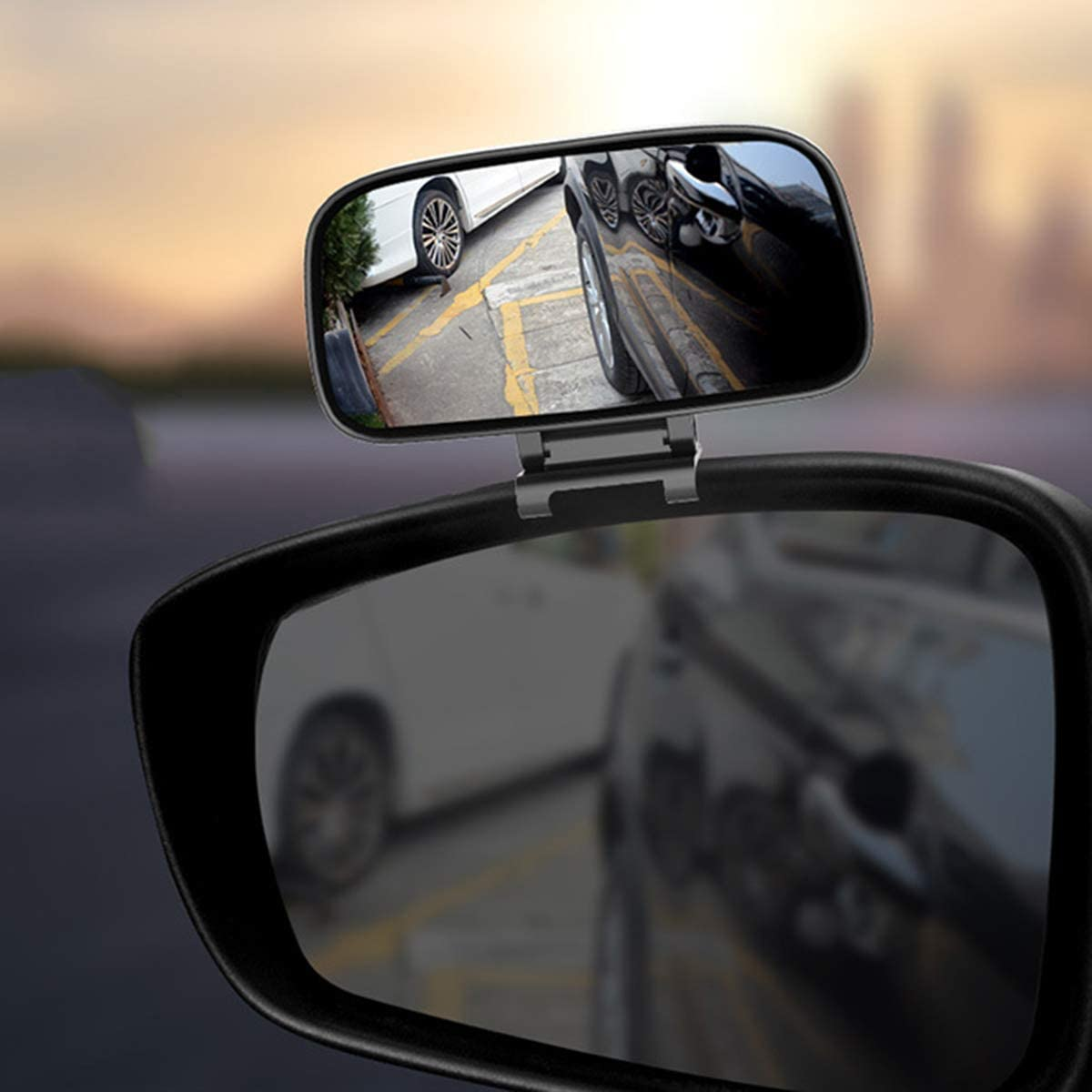 SANON 1Pc Adjustable 360 Degree Rotation Wide Angle Side Rear Mirrors Blind Spot Snap Way Rearview Mirror Universal Black