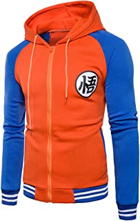 Men Dragon Ball Goku Long Sleeve Full-Zip Bomber Jacket Hooded Varsity Jacket