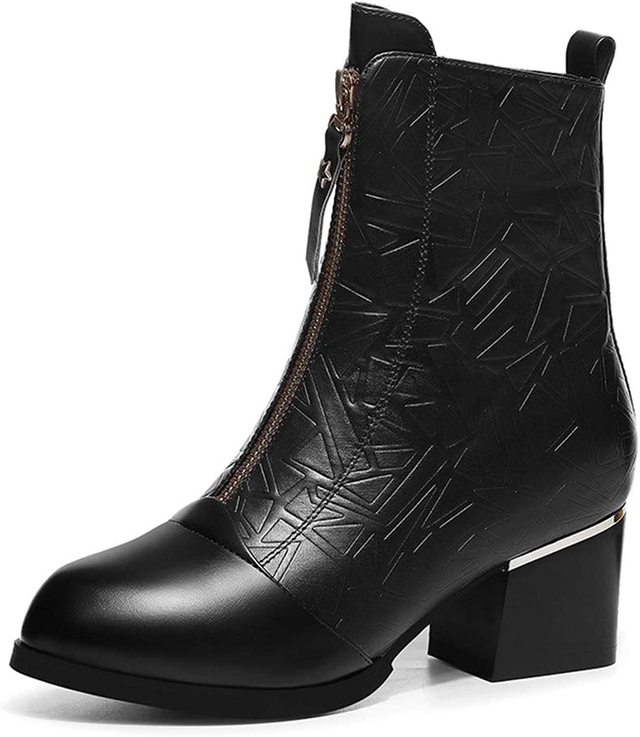 Women's Boots, Autumn Winter New British Style Thick Ankle Boots Lady Martin Boots Plus Velvet shoes (color   A, Size   40)