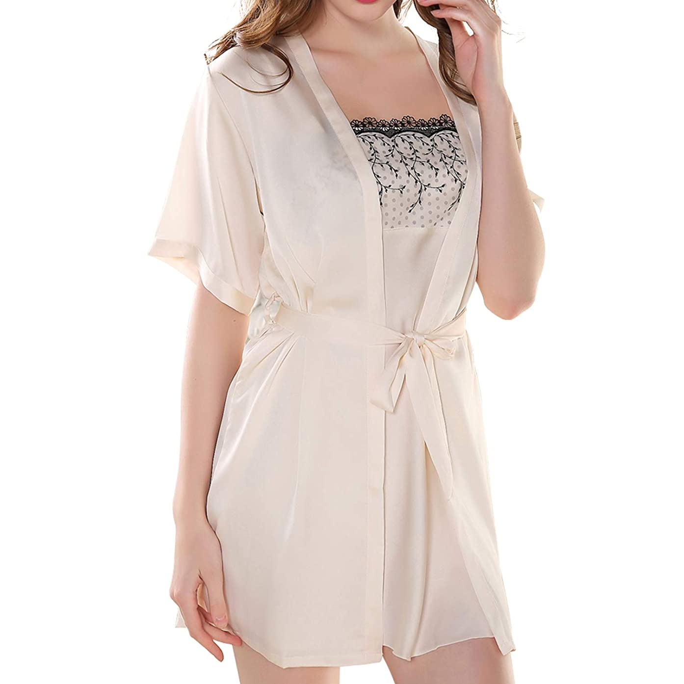S~M Women's Lace Satin Silk Nightgown Robe with Full Slip Sexy Chemise Lingerie Pajamas Set Sleepwear Loungewear