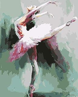 Pintar por Numeros Bailarina De Ballet para Adultos Niños Pintura por Números con Pinceles Y Pinturas Decoraciones para El(16 * 20 Pulgadas, Sin Marco)