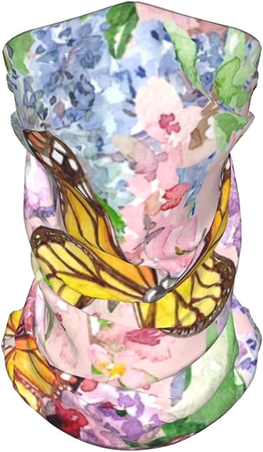 Butterfly Pattern Neck Gaiter Multipurpose Headwear Ice Silk Mask Scarf Summer Cool Breathable Outdoor Sport 2 Pcs