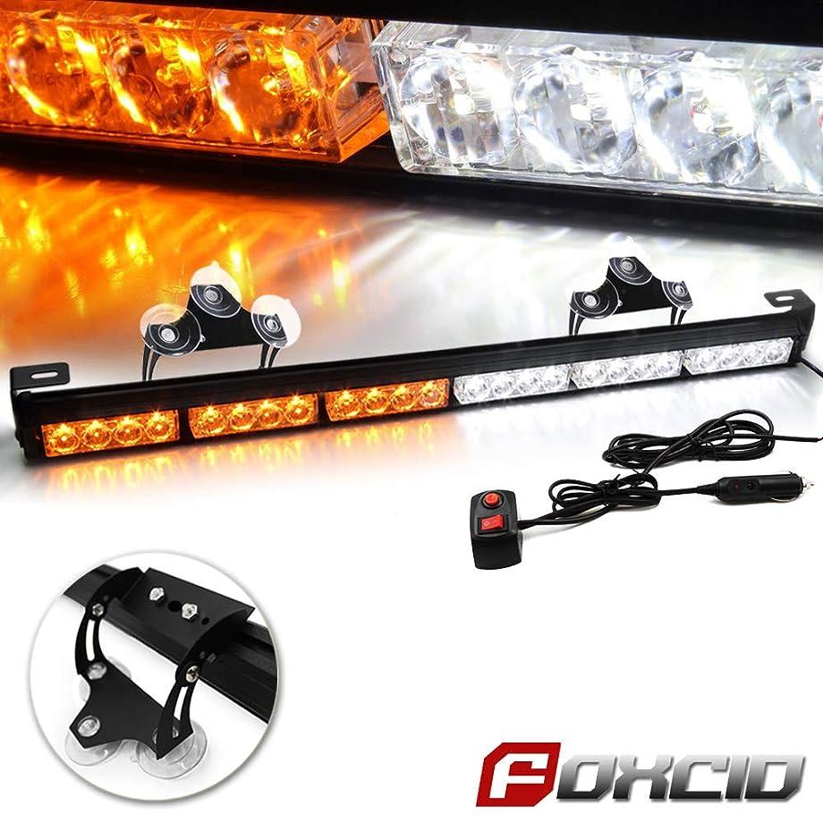 FOXCID 24 LED White Amber 13 Modes Emergency Warning Traffic Advisor Vehicle LED Strobe Light Bar with Large Suction Cups and Cigarette Lighter