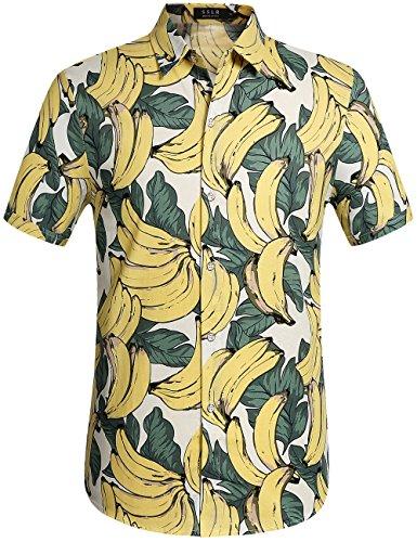 SSLR Camisa Manga Corta de Algodón Estampado de Plátanos Fruta Tropical Estilo Hawaiano para Hombre (Medium, Blanco)