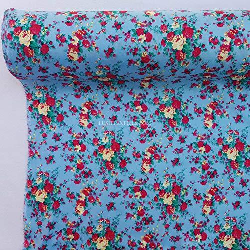 PRESTIGE 100% wiskoza letnie nadruki tkanina krawiecka midi spódnice sukienka tunika, 140 cm szerokości - na metr (róże kwiatowe - niebo)