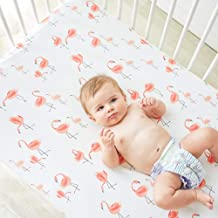 Little Jump Flamingo Crib Sheet - Jersey Cotton Crib Mattress for Toddler Bed, Baby Sheets for Crib Toddler Bed Sheets Girl Crib Sets for Girls (Flamingo)