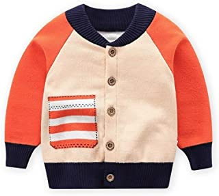 Boy Western Style Knit Cardigan Sweater Jacket Baseball Uniform Front (Color : Orange, Size : 110cm)