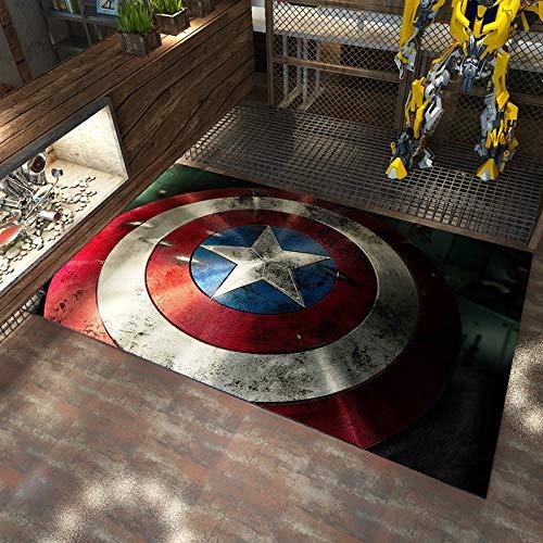 Kele Teppich Rechteck Cartoon Cartoon Avengers Teppich Captain America Kreative europäische und amerikanische Wohnzimmer Wohnmöbel Teppich 60 * 90cm