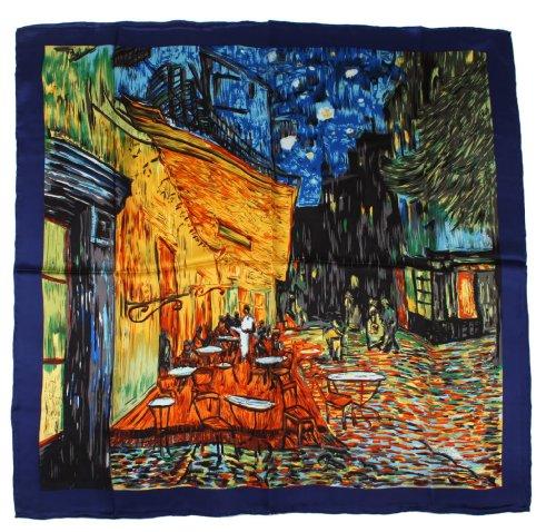 Nella-Mode SEIDENTUCH Seidenschal nach van Gogh: Nachtcafé Schal Tuch 100% Seide Kunstdruck 85x85 cm