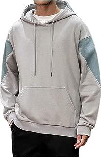 MogogoMen Pullover Japanese Contrast Color Baggy Hood Sweatshirts