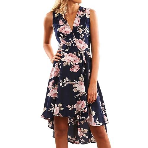Yesmile Vestido de Mujer Falda Blanco Ropa Vestido Elegante de Noche para Boda Fista Vestido de Las Mujeres de Verano del Hombro Corto Floral Mini Vestido de Damas de Playa