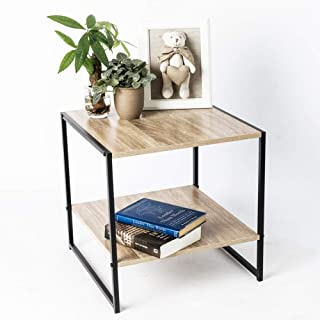 C-Hopetree Small Side Table Square End Occasional Coffee Table with Storage Shelf, Mid-Century Industrial Wood Look, Black Metal Frame