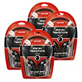 Maxell HP-100 Portable Stereo Headphones, Lightweight, Black, Pack of 4